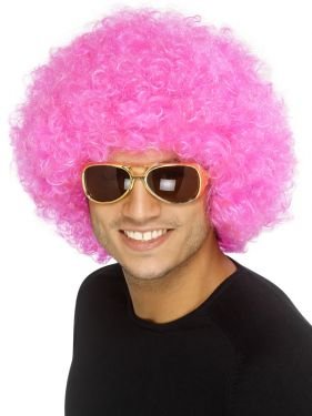 Unisex Funky 70s Afro Crazy Clown Wig - Pink